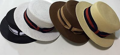 New Men's Bruno Capelo Hat Straw Boater Gatsby barbershop skimmer Fashion Colors 4