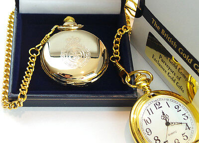 GOLD Plated AMBULANCE POCKET WATCH Paramedic St Johns Driver Gift Case 2