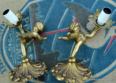 TWO French antique bronze cherub light fittings re wired 110-240v 2