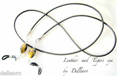 ✫Leather & Tigers Eye✫ Eyeglass Glasses Spectacle Chain Holder  Cord