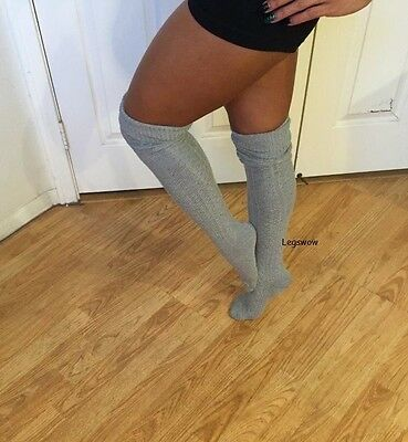 ae3b5f10c ... Cable Knit Over The Knee Socks Thigh High Blue Brown Gray White Boot  OTK Boot Hi