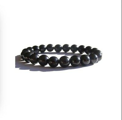 8 mm Shungite Bracelet Elite Shungite Bead Bracelet Stretchy Radiation Karelia. 3