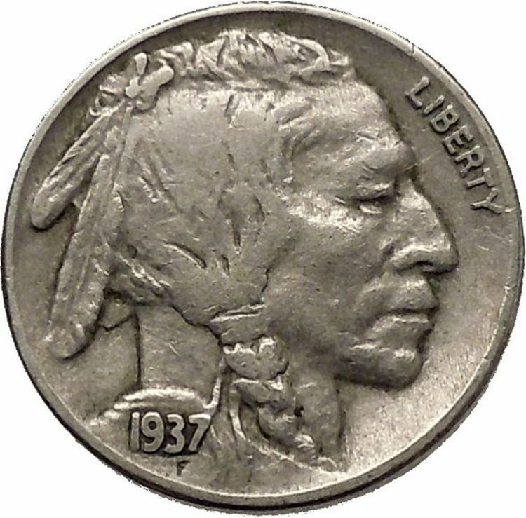 1937 BUFFALO NICKEL 5 Cents of United States of America USA Antique Coin i43887 2