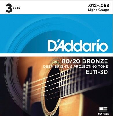 3 Sets D'Addario EJ11-3D Light Acoustic Guitar Strings 80/20 Bronze 12-53 EJ11