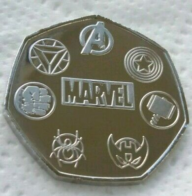 Unofficial Marvel Rare 50p Coin Pence Shape Custom Made Solid Token Stan Lee 10