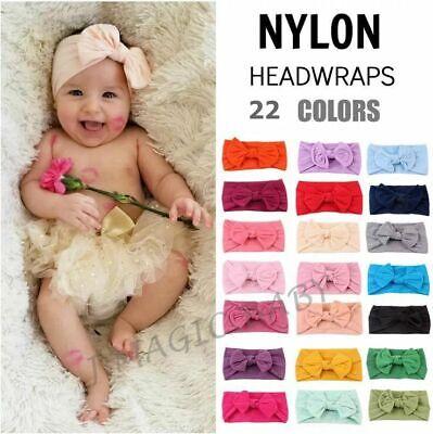 Baby Nylon Soft Bow Head Wrap Turban Top Knot Headband Newborn Girl Accessories 9