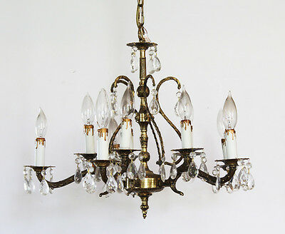 Antique 10 Light Brass & Crystal Chandelier Gorgeous