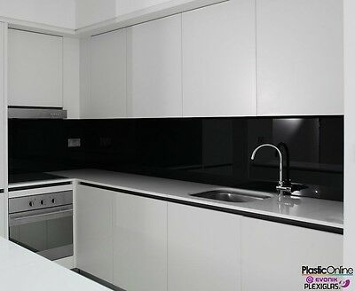 Black Plastic Perspex Acrylic Kitchen Bathroom Splashback Like Glass