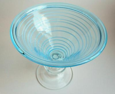 Vintage Italian Murano Art Glass Compote Striped Threaded Light Blue & Clear