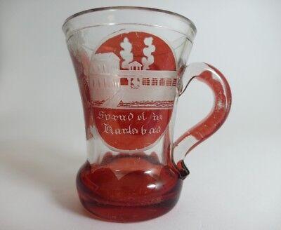Andenken Becher/ Henkel- Krug Glas gebeizt, KARLSBAD, um 1900  AL43 12
