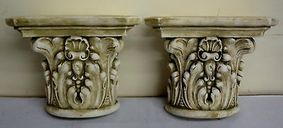Pair Antique Finish Shelf Capitol plaster Wall Corbel Sconce Bracket Home Decor 7