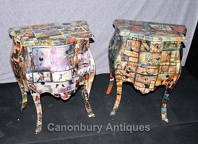 Pair Art Deco Comic Print Chests Drawers Bedside Table Nightstands 4