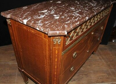 Antique French Empire Chest Drawers Commode Circa 1920 Marquetry Inlay 10
