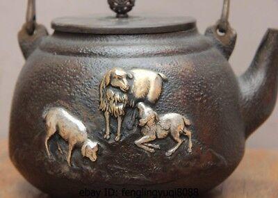 Archaic Japanese Iron Silver Gilt Sheep Goat Portable Flagon Kettle Wine Tea Pot