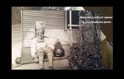 Vintage Creepy Child Halloween PHOTO Pumpkin Head Costume Freak Scary Kid Mask 2