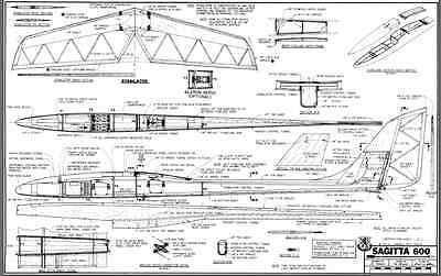 SAGITTA 600 SAILPLANE, Glider, 79 in WS RC AIrplane Printed Plans &Templates
