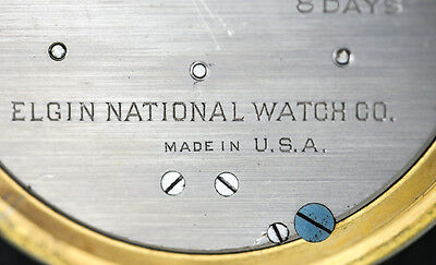 American Elgin 8 Day Travel Clock Keystone case body Gilt silveroid Leather case 4