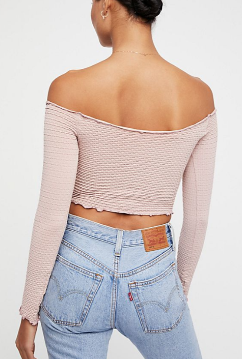 NEW Free People Intimately Textured Long Sleeve Crop Top Red XS//S-M//L $54.11