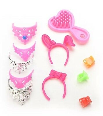 40pcs//lot Jewelry Necklace Earring Comb Shoes Crown Accessory For  Dol/_gu
