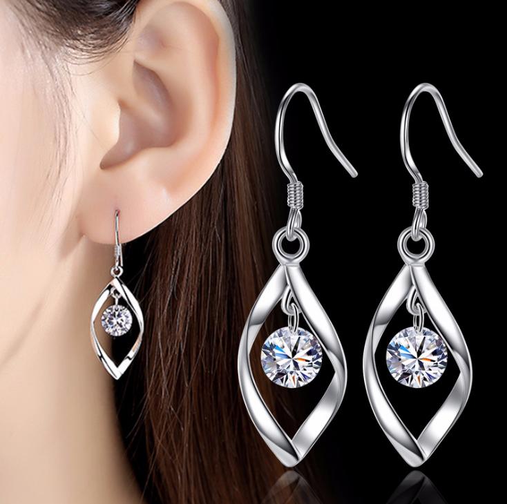 Womens Leaf Earrings Drop Dangle Hook 925 Sterling Silver Jewellery Round Long 2