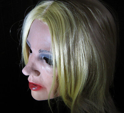 MARILYN MASKE +WIMPERN - Real. weibliche Latex Frauenmaske Gesicht Crossdresser