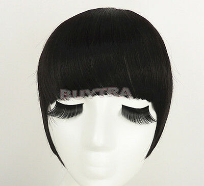 Classic frange clip in on Bangs Straight cheveux brun perruque cheveux noirs~PL 6