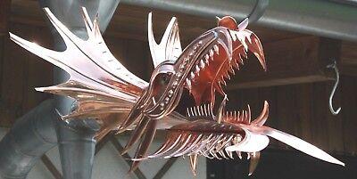 """Ablauf Dragon Drachen Drachenkopf Kupfer-Wasserspeier /""""Wisagund/"""" DN 76"""