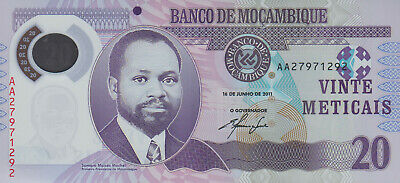 MOZAMBIQUE SET 3 PCS 20 50 100 METICAIS 2011 P 149 150 151 POLYMER UNC
