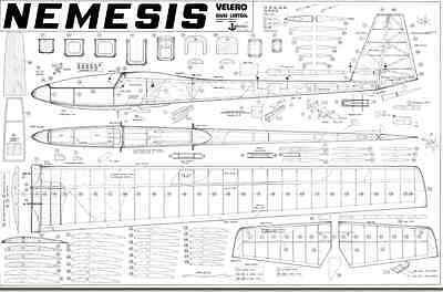 NEMESIS / 93 inch Sailplane, Glider, RC AIrplane Printed Plans & Templates