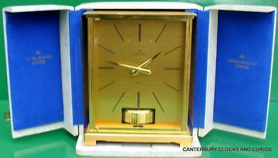 Jaeger Lecoultre Vintage Burgandy Embassy Atmos Clock Original Box Serviced 2