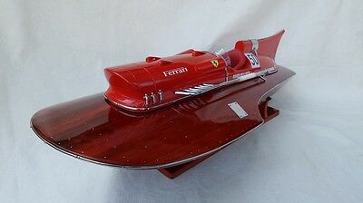 "Ferrari Hydroplane 15/"" Beautiful Wooden Model Boat L40 Xmas Gift Free Shipping"