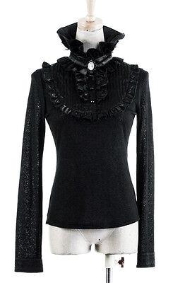 Top haut gothique lolita victorien steampunk jabot camée broderies Punkrave Noir 10