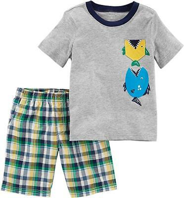 Carter's Toddler Boys 2 Pc Shirt & Shorts Set NWT Size 2T or 3T Fish or Anchor 2