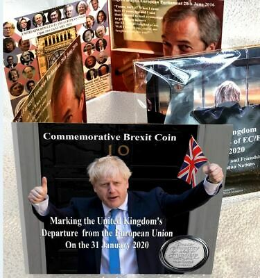 Brexit Coin 50p Card Limited Edition Boris Farage + New Uncirculated 2020 Coin 3