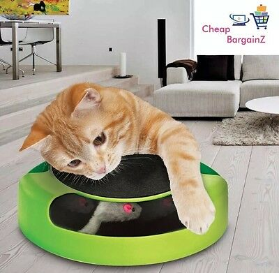 Pet Cat Kitten Catch The Mouse Moving Plush Toy Scratching Claw Care Mat Play UK 3
