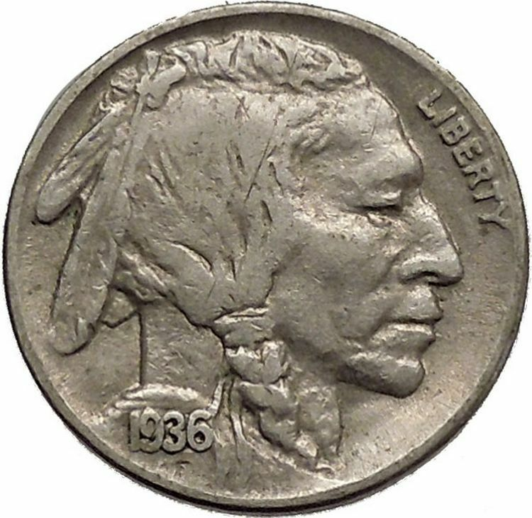 1936 BUFFALO NICKEL 5 Cents of United States of America USA Antique Coin i43858 2