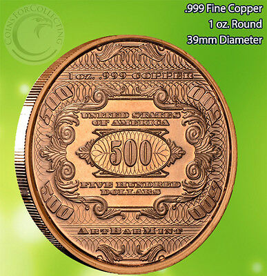 """/""""20 $500 McKinley Banknote/"""" Copper 1 oz .999 Copper Rounds Part of the 7 Series"""