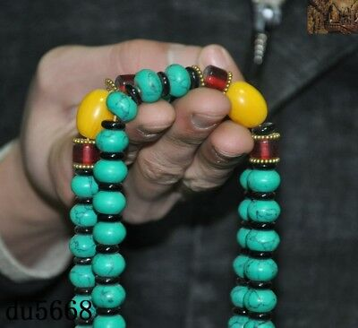 """16""""Old Tibetan Buddhism temple Beeswax turquoise Exorcism amulet necklace statue 6"""