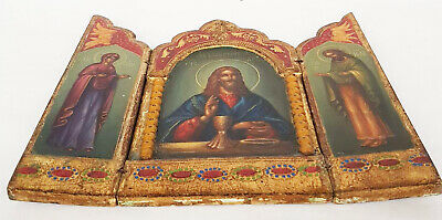 Antique 19th C Russian Hand Painted Wood Icon Triptych (Deesis Row) 3