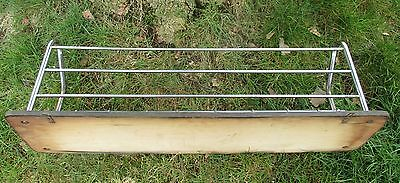 Vintage Wood Chrome Wall Coat Rack Shelf Mid Century Modern Railroad Industrial 5