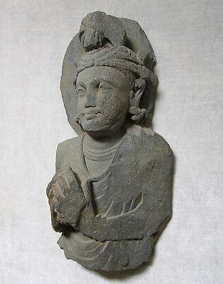 ANCIENT GANDHARAN SCHIST STONE SCULPTURE BUST OF BODHISATTVA, circa 200 AD 6