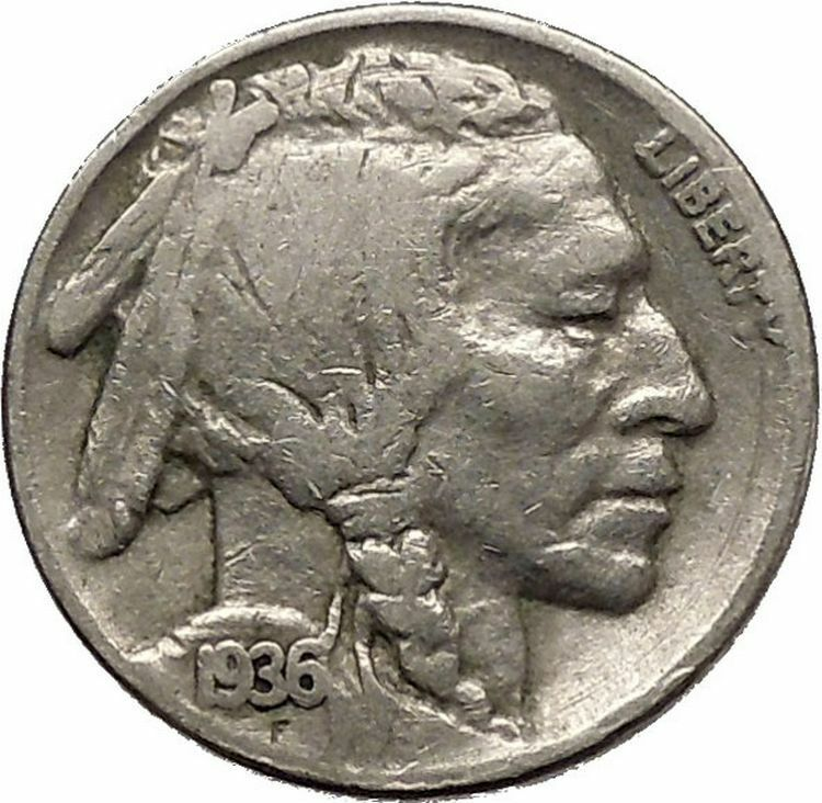 1936 BUFFALO NICKEL 5 Cents of United States of America USA Antique Coin i43838 2