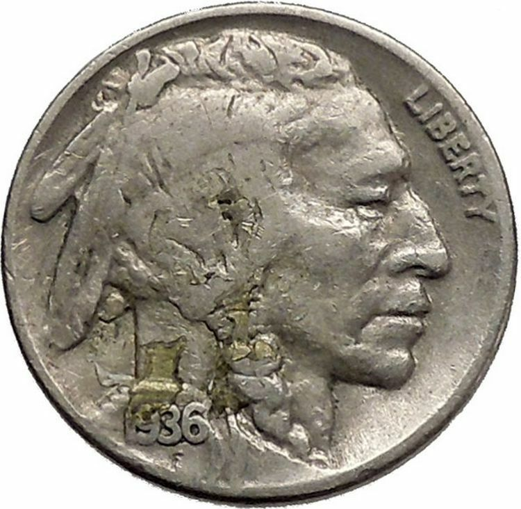 1936 BUFFALO NICKEL 5 Cents of United States of America USA Antique Coin i43807 2