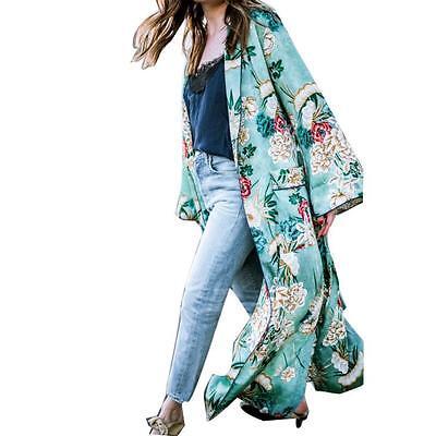8c76a87bea6 WOMEN LONG MAXI Cardigan Kimono Casual Loose Shawl Open Front Trench Coat  Jacket