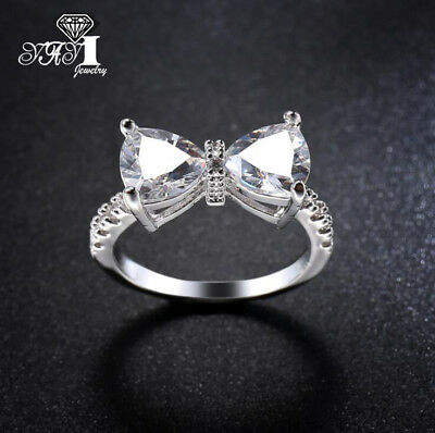 Fashion 925 silver Filled White Sapphire Birthstone Wedding Princesses Band Ring 2