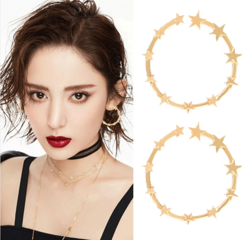 Gold Silver Plated Charm Alloy Star Hoop Fashion Dangle Drop Earrings For Women 2