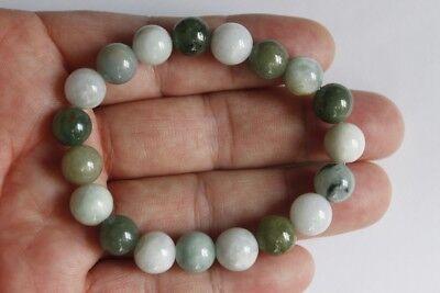 "Gemstone 100% Natural Untreated ""Grade A"" Jadeite JADE Beads Bracelet #Br268 4"