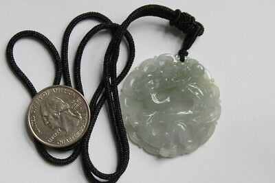 Natural JADE Certified (Grade A) Icy Translucent Jadeite Carved Dragon Pendant 8