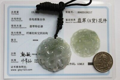 Natural JADE Certified (Grade A) Icy Translucent Jadeite Carved Dragon Pendant 10