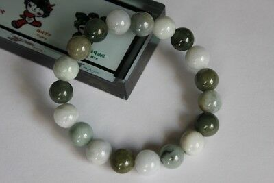 "Gemstone 100% Natural Untreated ""Grade A"" Jadeite JADE Beads Bracelet #Br268 5"